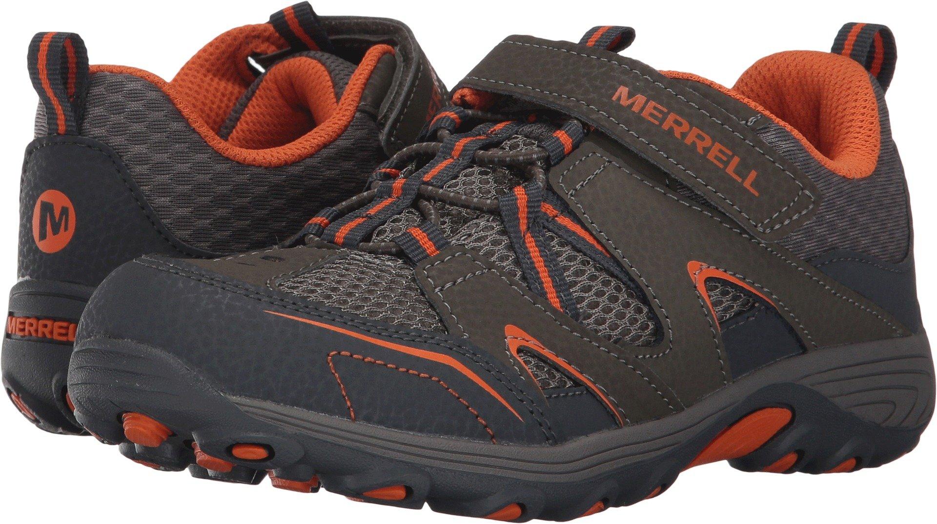 Merrell Trail Chaser Hiking Shoe (Little Kid/Big Kid), Gunsmoke/Orange, 4 M US Big Kid