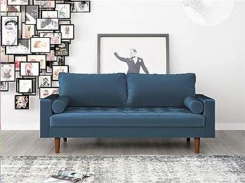 Container Furniture Direct S5456-S S5456 Mid Century Modern Velvet Upholstered Tufted Living Room Sofa, 69.68