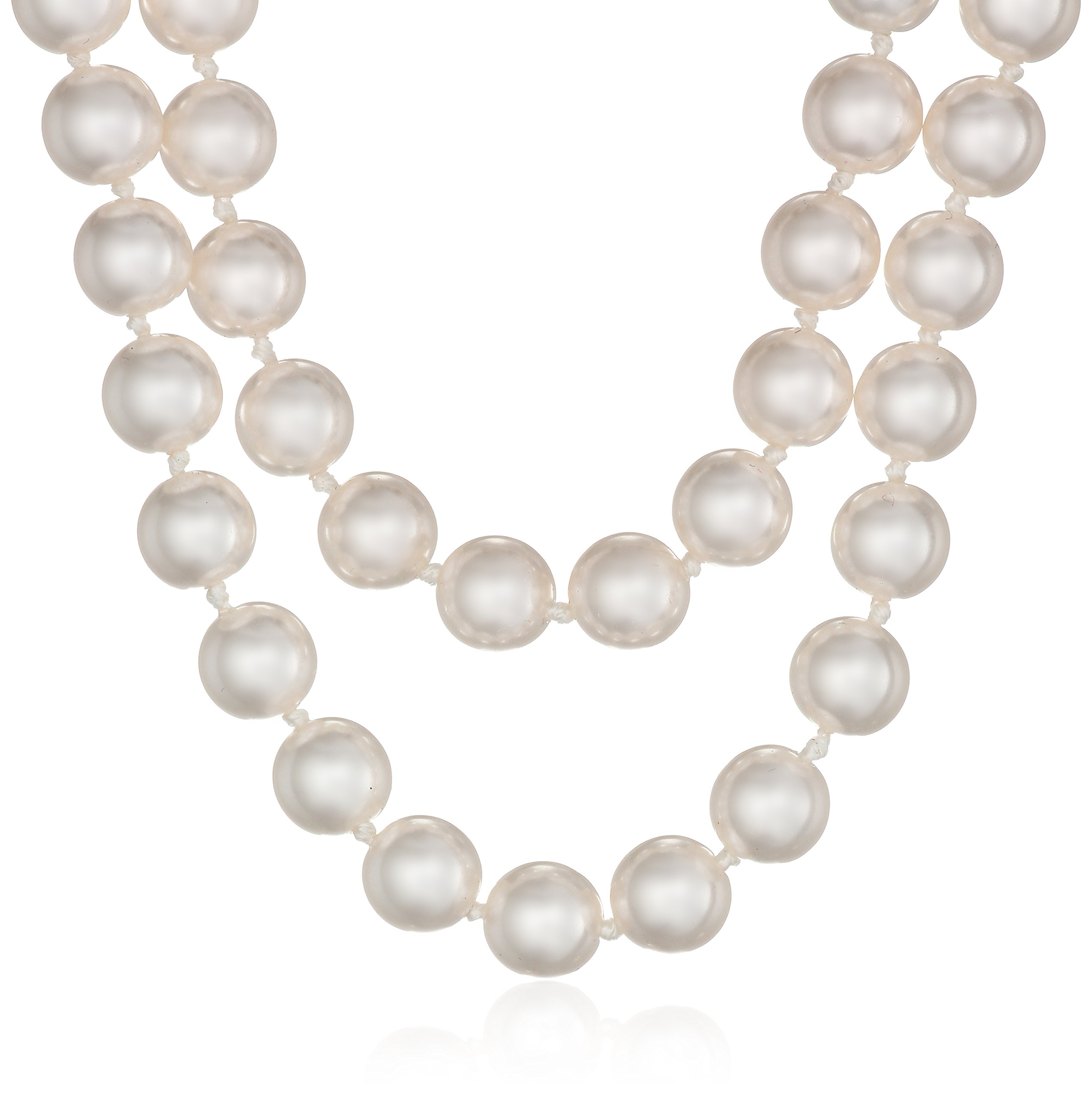 Amazon Essentials Cream Colored 8mm Simulated Pearl Strand Necklace, 60''