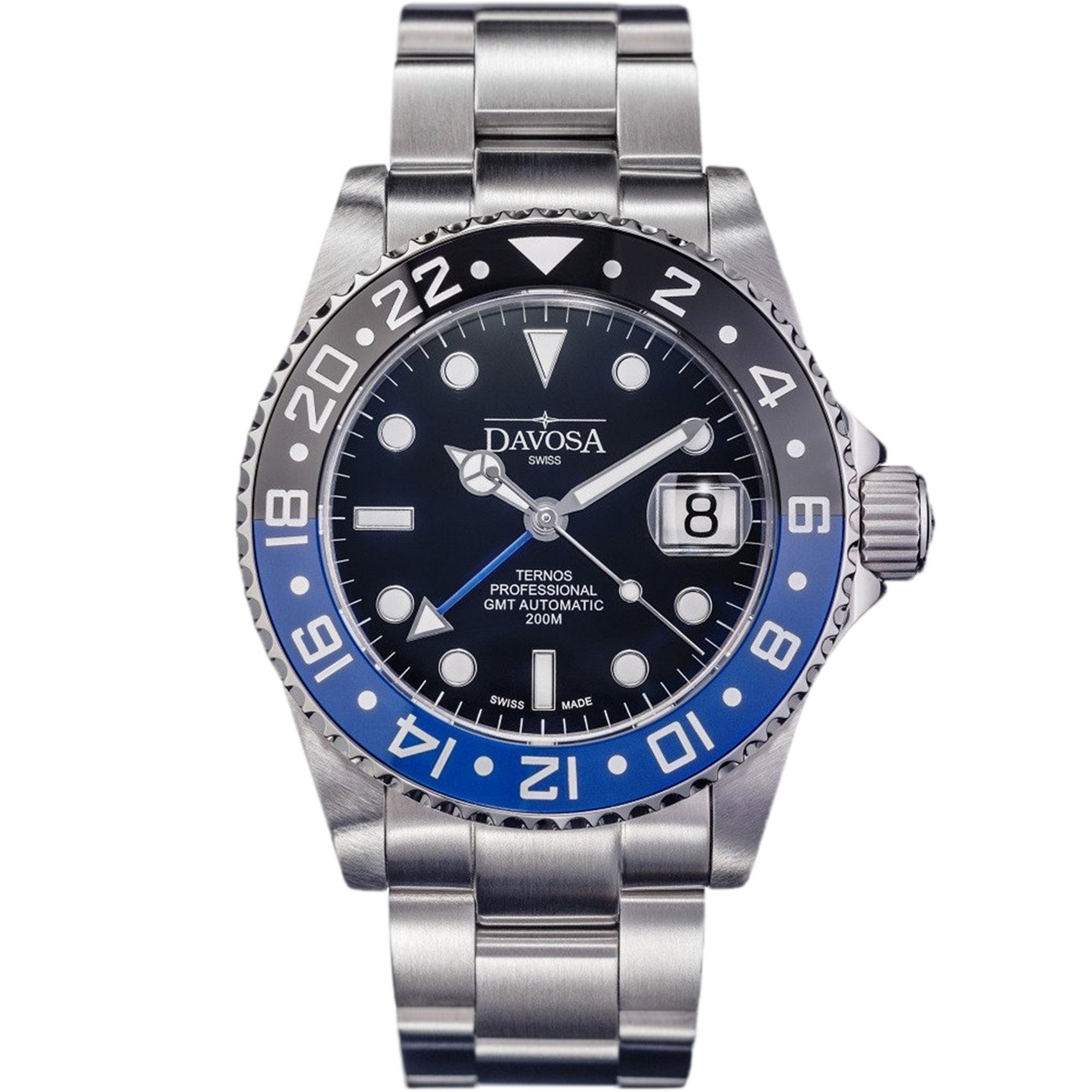 Davosa Swiss Made Professional Men Watch, Ternos 16157145 Automatic Illuminated Analog Display with Dual Time, Stylish Wrist Band & Ceramic Bezel