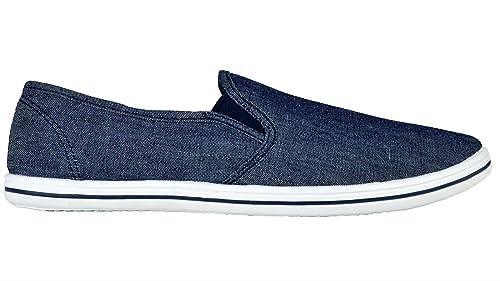 Zapatillas de tela elástica para hombre, ajuste sin cordones, color azul,
