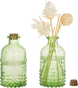 MyGift Vintage Design Embossed Green Glass Bottle with Cork Lid, Set of 2