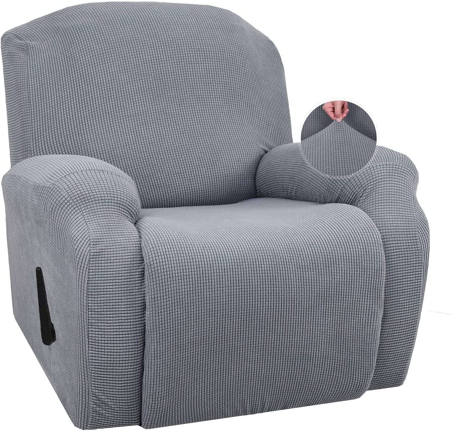 Stretch Recliner Slipcover Sofa Slipcover, Single Seat Leisure Jacquard Armchair Covers Recliner Chair Cover Furniture Protector for Recliner Armchair-Light Gray
