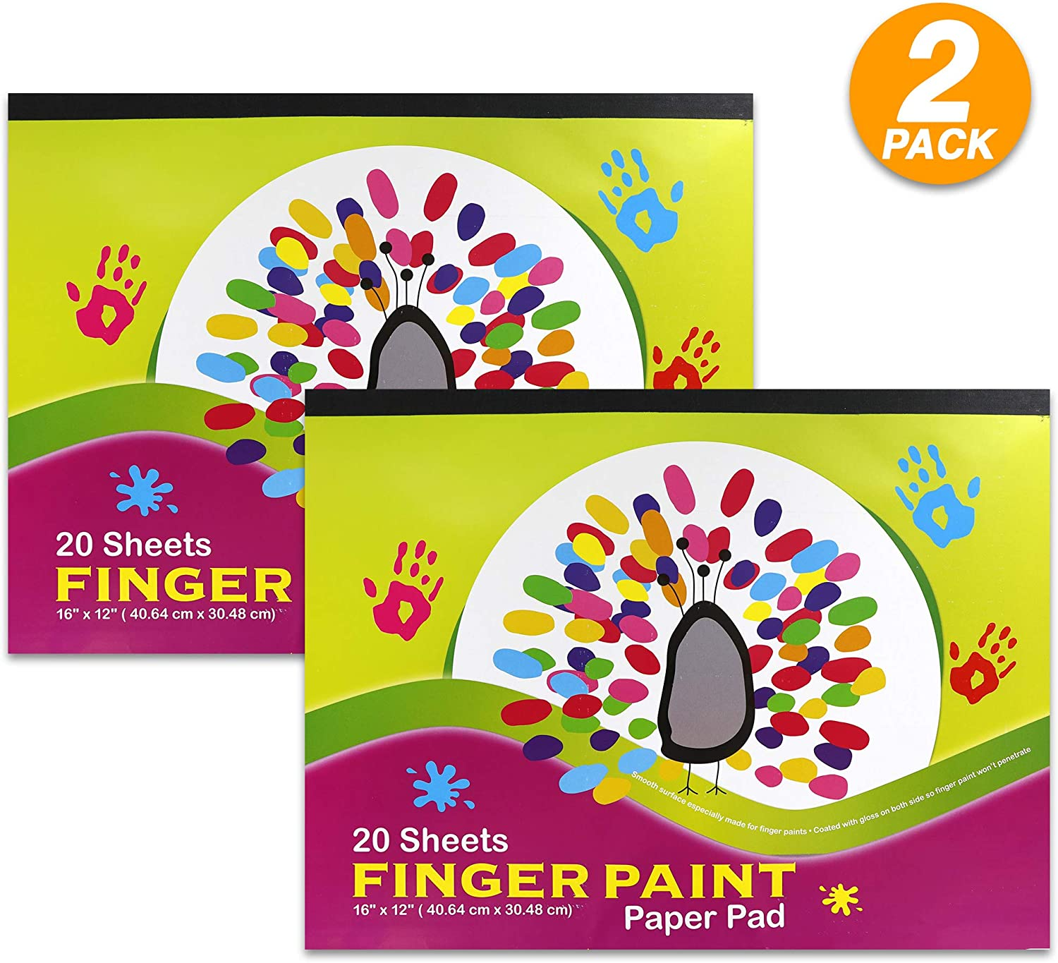 "Emraw 16"" X 12"" Finger Paint Paper Pad Non Absorbent Smooth Surface Perfect for Finger Paints Perfect for Kids Toddler Children - 20 Per Pack (Pack of 2)"