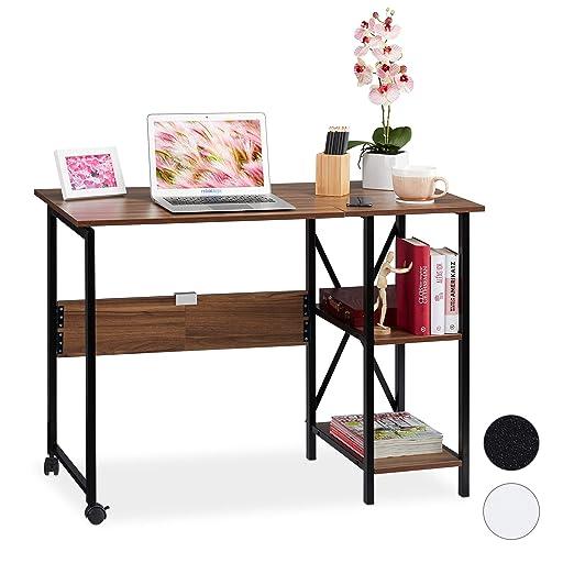 Relaxdays Escritorio Plegable, Dos estantes, Home Office, Juvenil ...