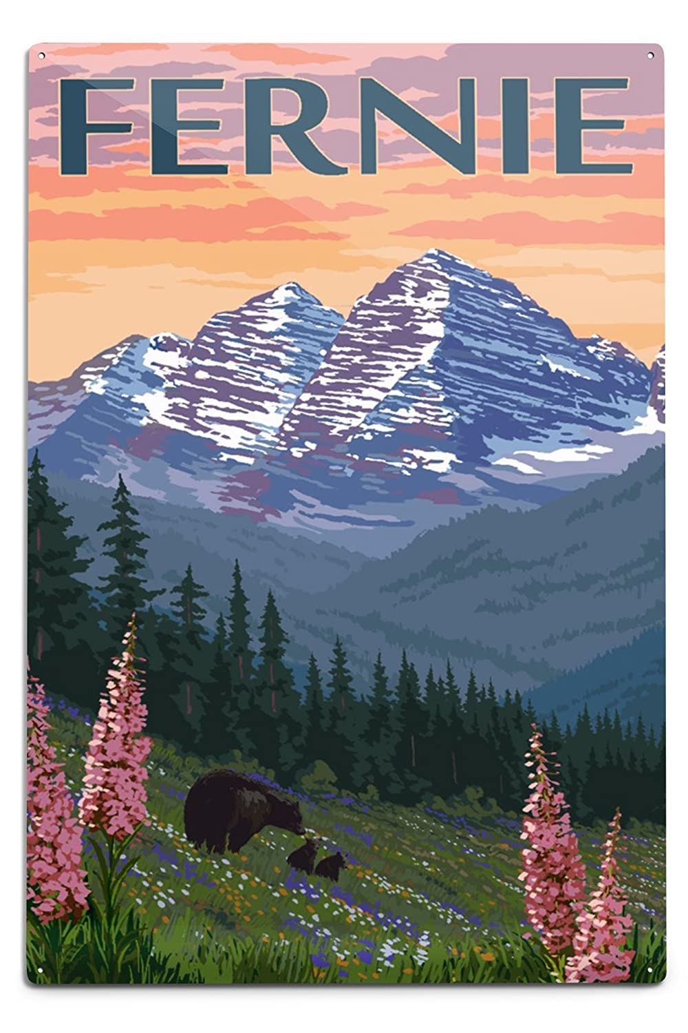 Fernie、ブリティッシュコロンビア州、カナダ – Bear And Spring Flowers 12 x 18 Metal Sign LANT-77618-12x18M B06Y11V3NN  12 x 18 Metal Sign