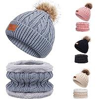 TAGVO Invierno Set de Bufanda, Gorro para niños, Invierno Grueso Polar, Tejido térmico, Bufanda, para niños, niños…