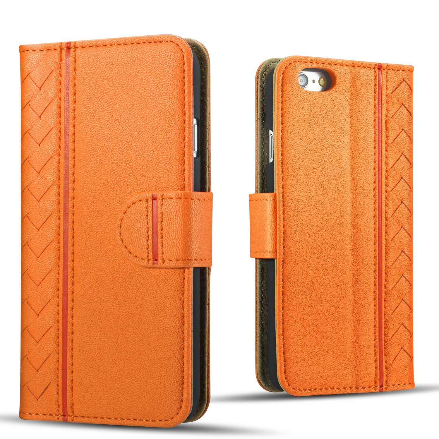 iPhone 6 Case,iPhone 6s Case,Drool[Woven Pattern Series]Luxurious PU Leather Wallet Case,Flip Phone Case Cover with Card Holder&Stand for iPhone6/6s(iphone 6/6s orange)