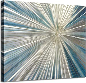 Abstract Painting Artwork Picture Canvas: Gray & Blue Art with Gold Foil Painted Contemporary Rays Wall Art on Canvas (24'' x 18'' x 1 Panel)