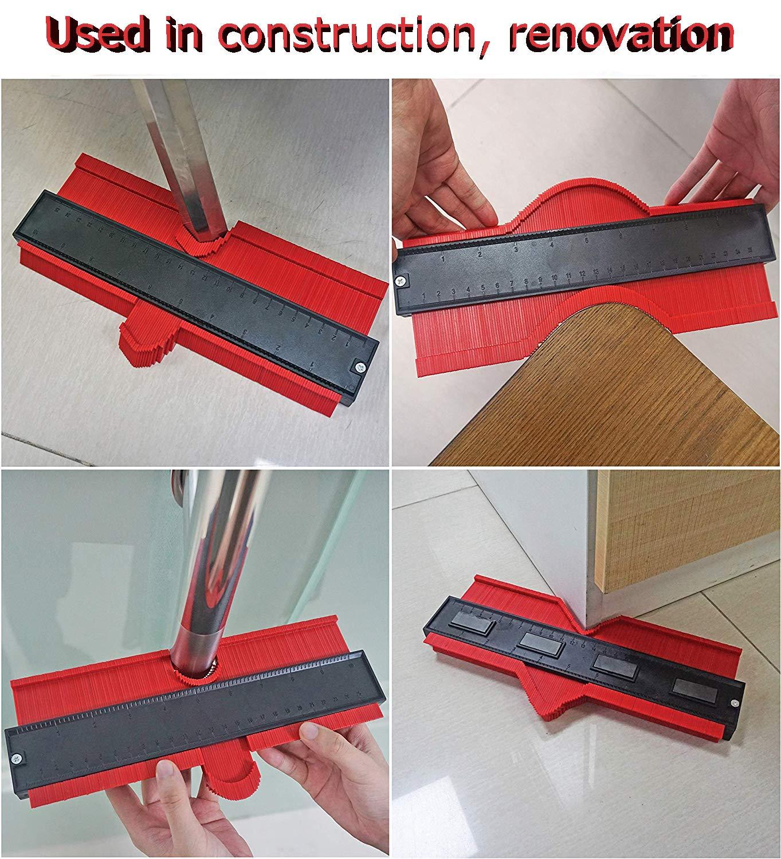 Ensanchar Duplicador de forma de calibre de contorno amplio 25 cm herramienta de medici/ón de plantilla de trazado de forma de carpinter/ía de pl/ástico para copiar con precisi/ón formas irregulares