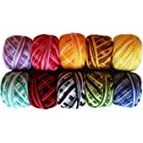 Kurtzy Fil de crochet - 10 Pcs Fil de coton - 5 Grammes/43 mètres de Design Stripy Fil de coton dans un assortiment de couleurs - Fils pour motifs, projets, tricot et Applique