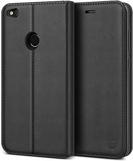 BEZ Funda Huawei P8 Lite 2017, Carcasa Compatible para Huawei P8 Lite 2017, Libro de Cuero con Tapa y Cartera, Cover Protectora con Ranura para Tarjetas y Billetera, Cierre Magnético, Negro: Amazon.es: