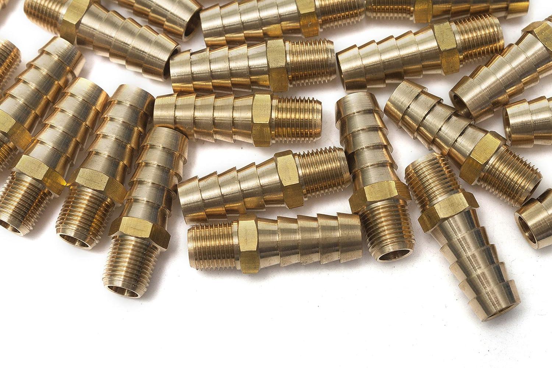 Lat/ón de conector de manguera de leng/üeta de combustible 5 piezas Sin Marca 1//4 Macho BSPT x 1//4 gas 6mm agua