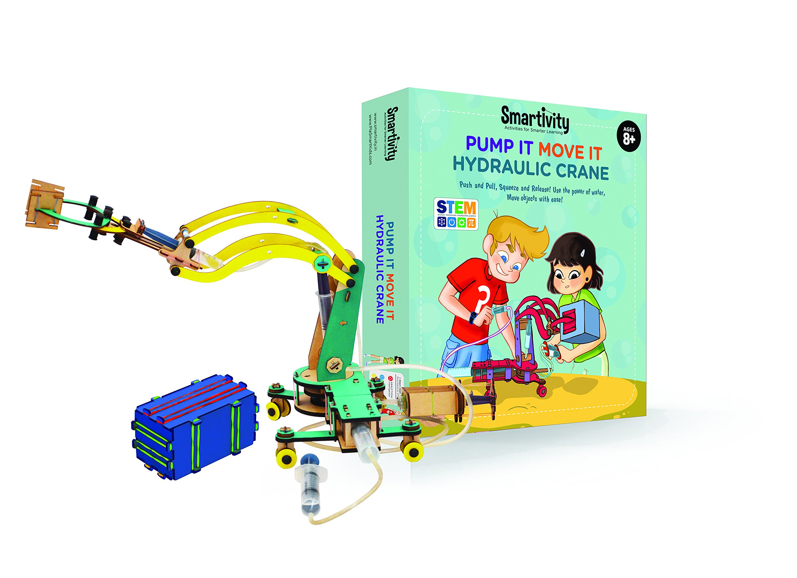Smartivity Pump It Move It Hydraulic Crane - S.T.E.M., S.T.E.A.M. learning, Ages 8 Years and Up by PlaSmart (Image #1)
