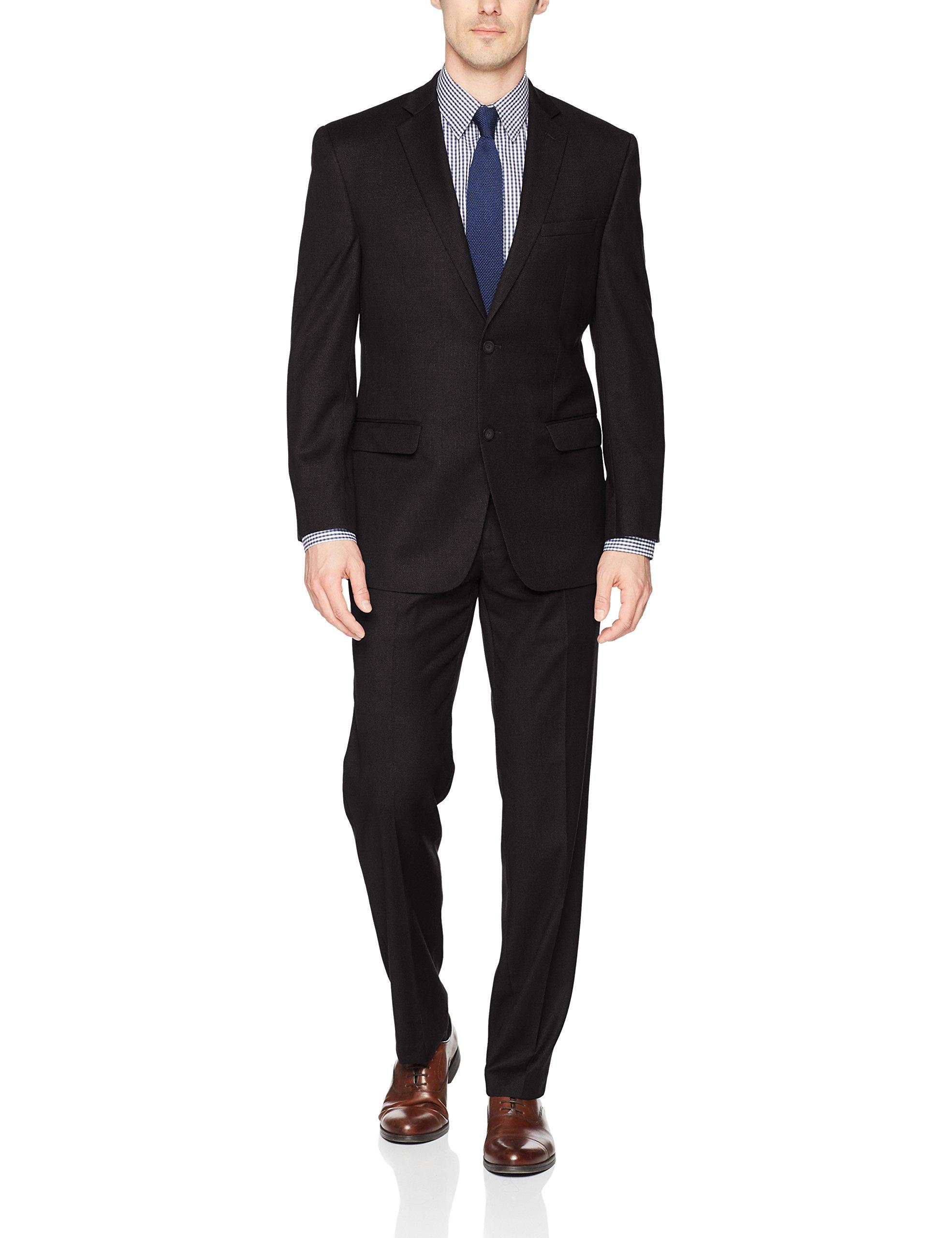 Andrew Marc Men's Slim Fit Ready To Wear Suit, Black, 44 Regular