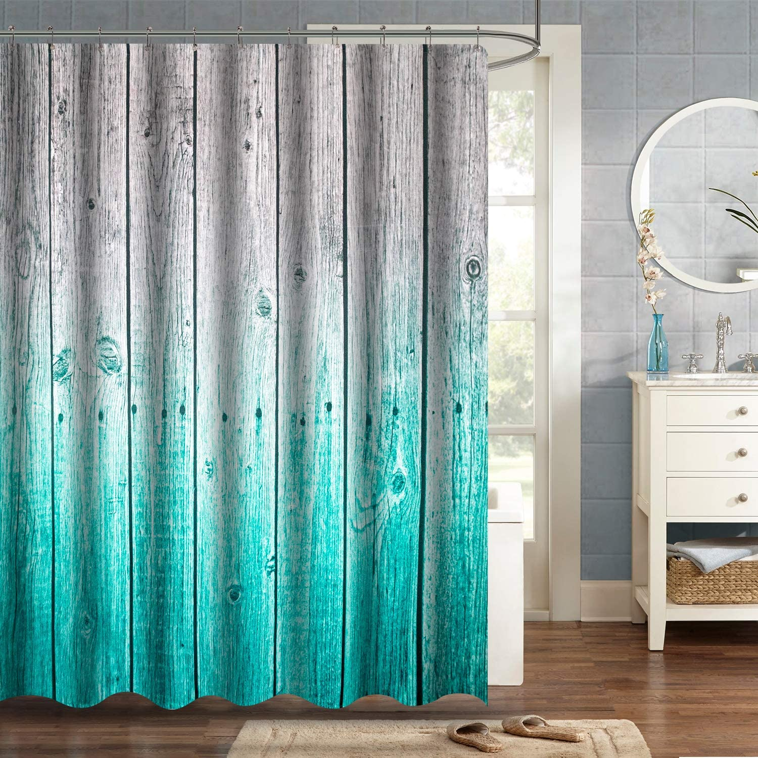 VVA Fabric Shower Curtain with Hooks for Bathroom Waterproof,Machine Washable,Breathable,72x72 inch,Rustic Teal Decor Wood Panels Background with Digital Tones Effect Country House Image Teal Grey