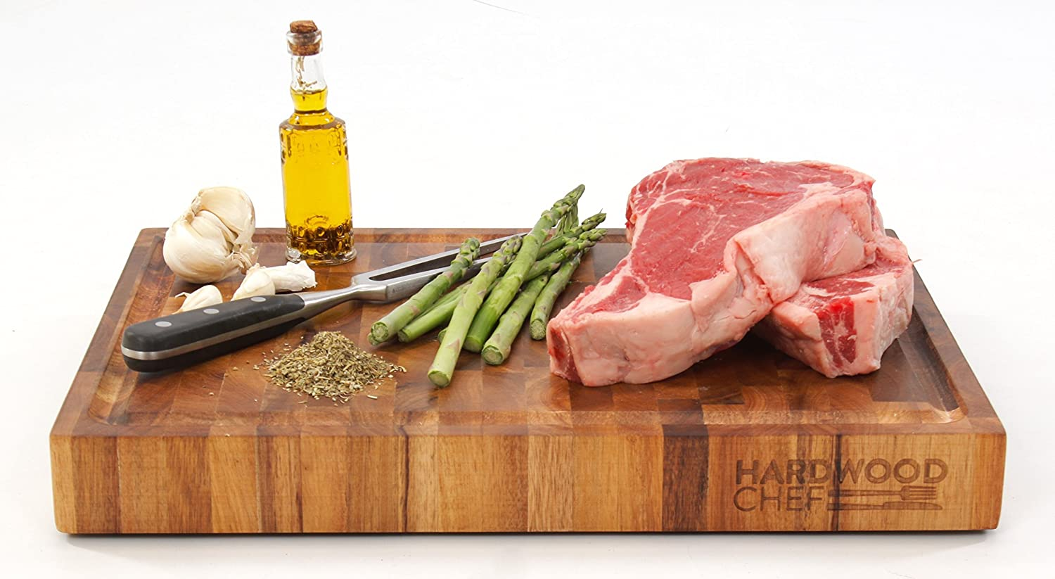 Hardwood Chef Premium Thick Acacia Wood End Grain Cutting Board Butcher Block with Groove, 16 x 12 x 1 3/4 in | For Chopping & Serving Cheese | (Gift Box Included) with BONUS e-Book