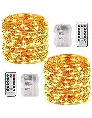 Lichterkette Batterie, 2er 10M 100 LED Lichterkette 8 Modi Außenbeleuchtung Batteriebetrieben Kupferdraht Wasserdichte IP68 mit Fernbedienung und Timer für Innen/Außen Weihnachten Dekoration, Warmweiß