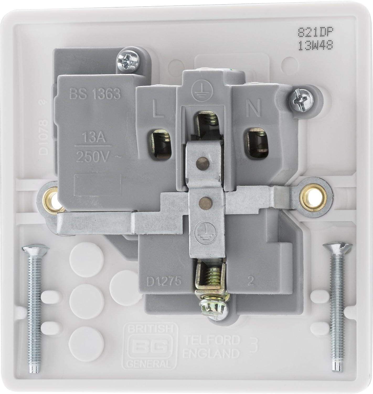 BG Electrical 821 13amp Single Switched Power Socket White