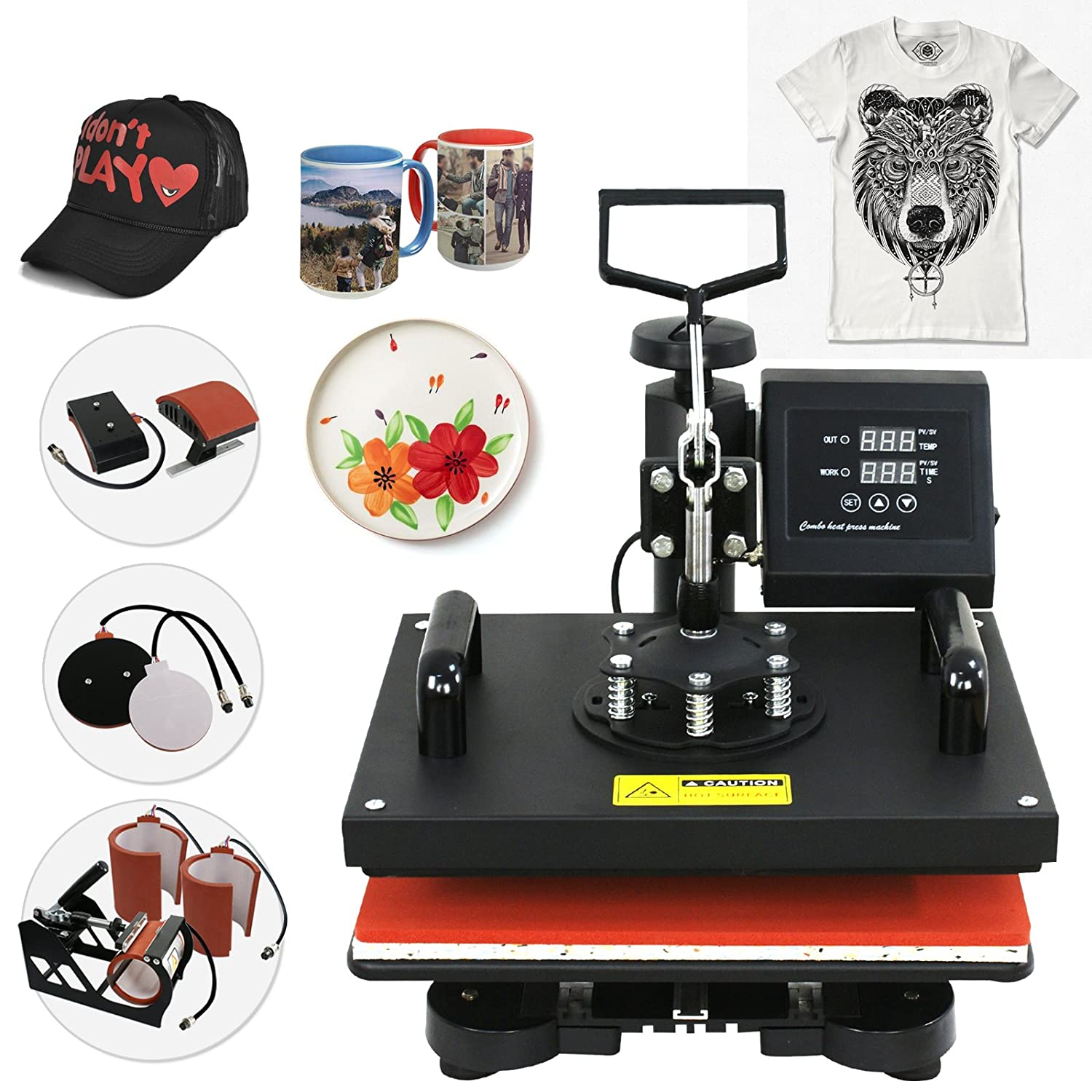 SUPER DEAL 6 in 1 Digital Swing Away Heat Press Clamshell Transfer Machine, T-shirts Heat Press + Mug Press + Cap/Hat Press + Plates Press T31