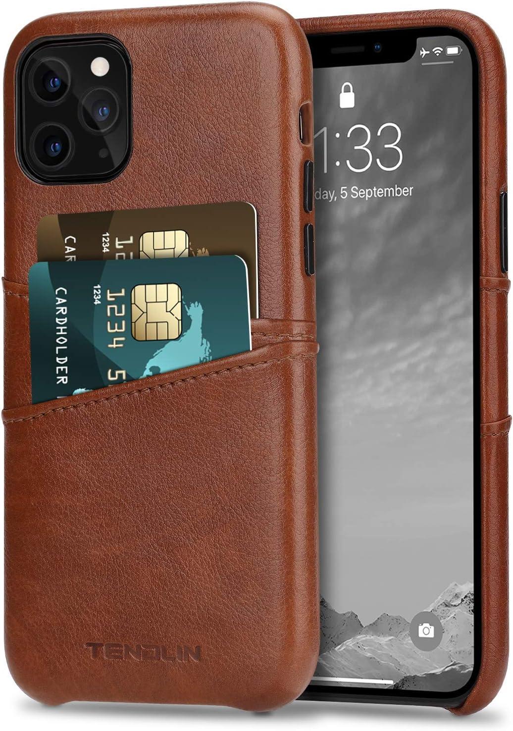TENDLIN Funda iPhone 11 Pro Carcasa de Cartera de Cuero Premium con 2 Ranuras para Tarjetas (Marrón)