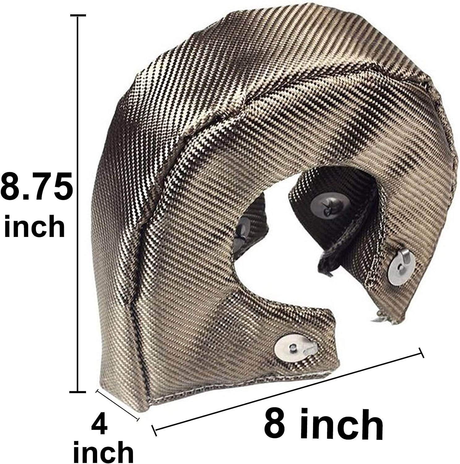 BLACKHORSE-RACING Titanium Turbo Blanket T4 for Turbocharger Thermal Heat Shield Cover Wrap with Fastener Springs