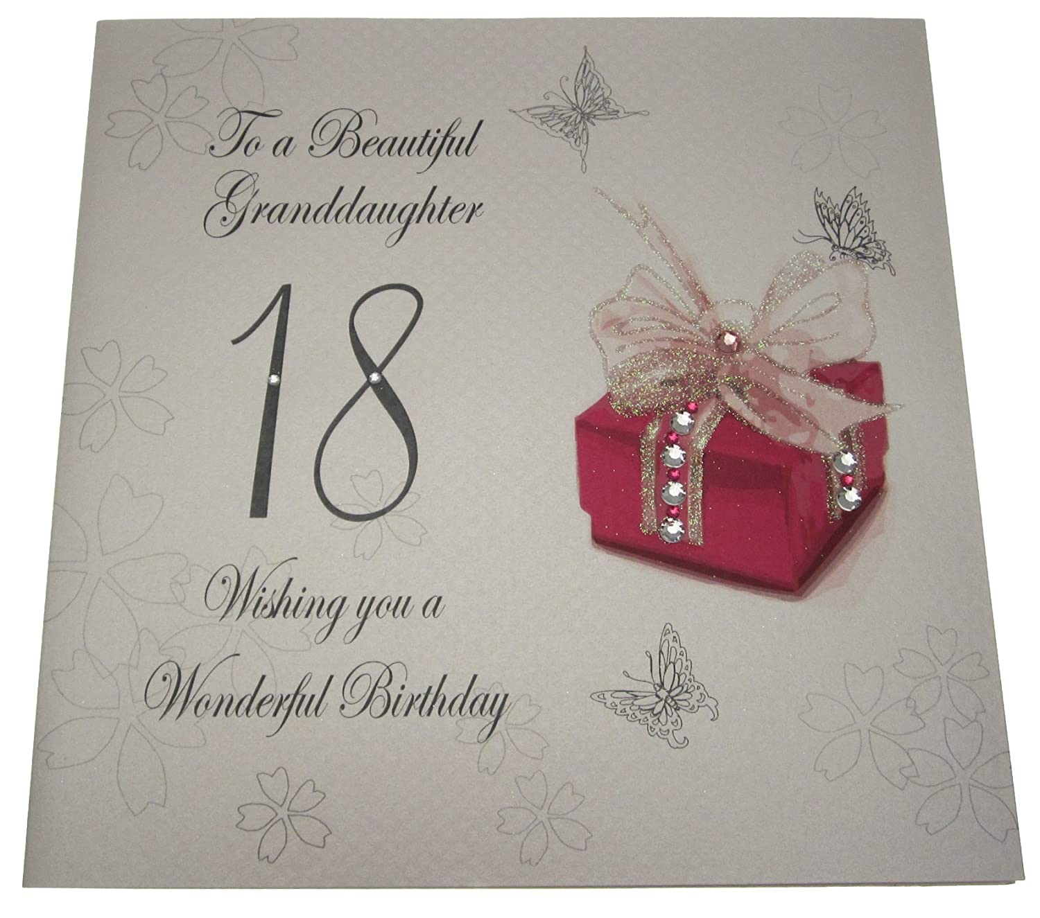 white cotton cards Granddaughter Handmade 18th Birthday Card – Handmade 18th Birthday Card