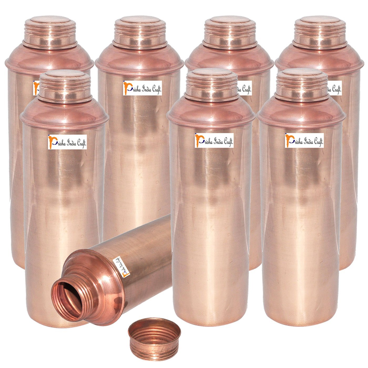 750 ML / 25 oz - Set of 8 - Prisha India Craft ® CHRISTMAS GIFT Pure Copper Water Bottle Pitcher for Ayurvedic Health Benefits - Handmade Copper Water Bottles