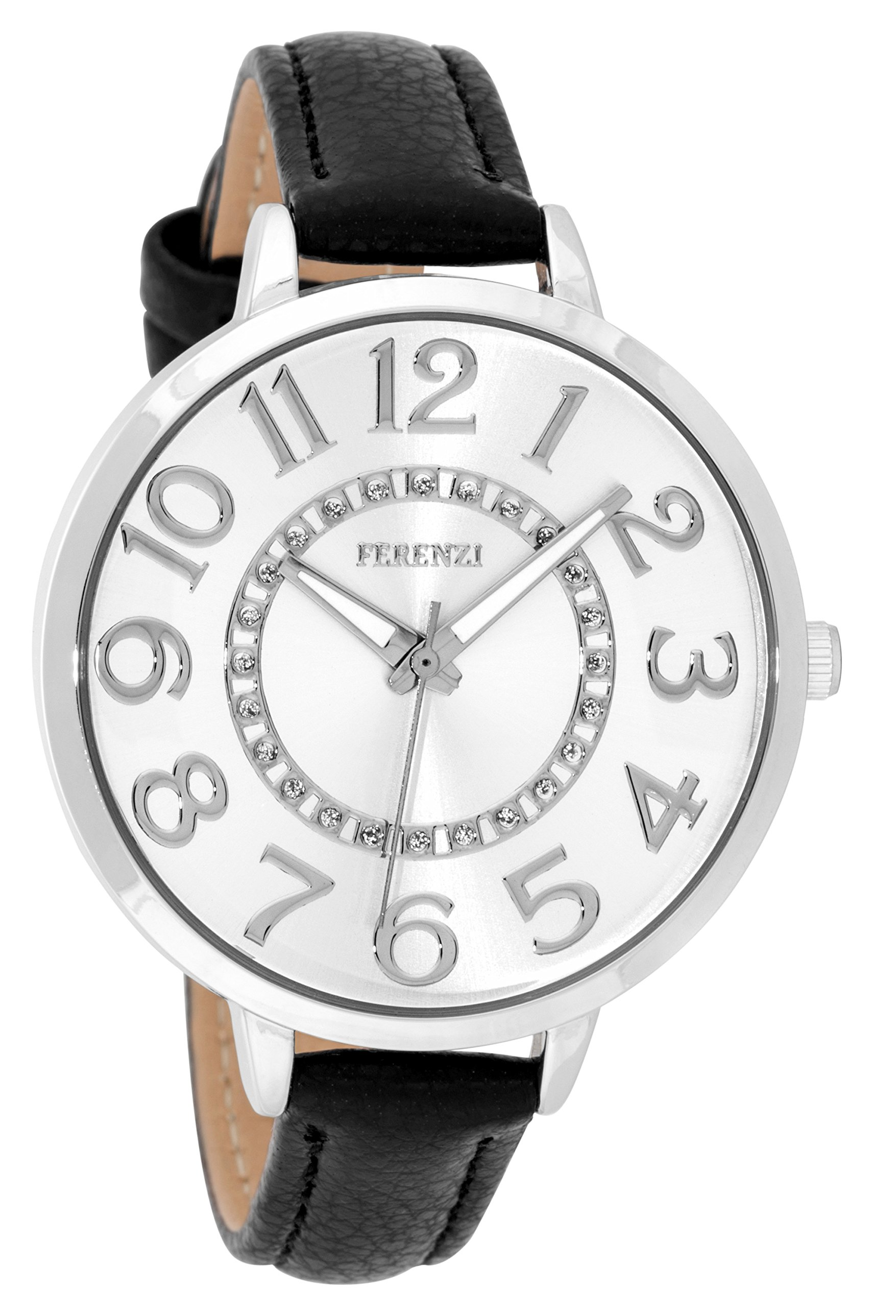 Women's Watches By Ferenzi - Classic Silver-Tone Sunray Dial With Black Padded PU Leather Band Watch - Make Every Second Count - FZ17707