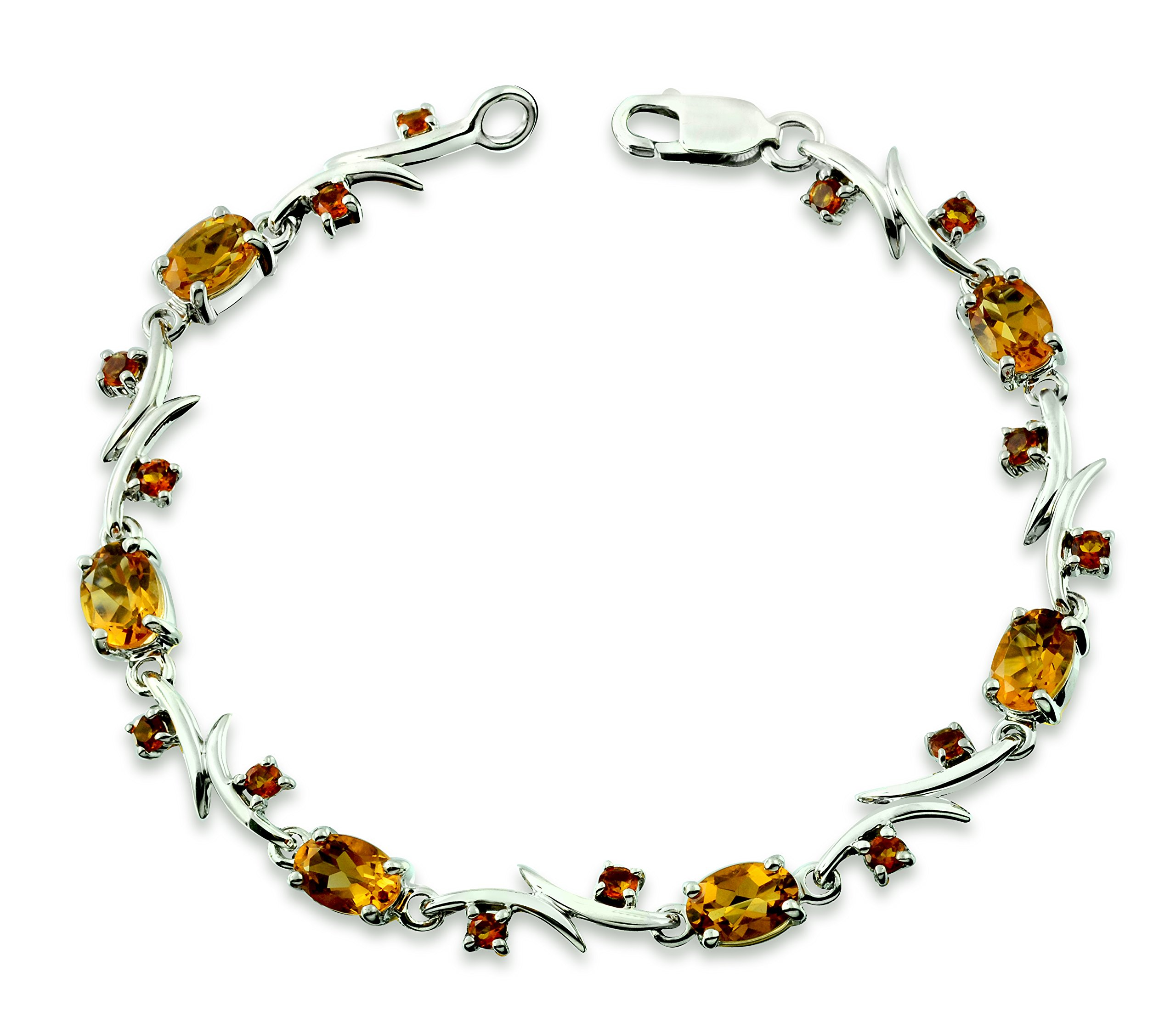 """RB Gems Sterling Silver 925 Tennis Bracelet Genuine Gemstone 5 Carats with Rhodium-Plated Finish, 7"""" Long (Citrine) by RB Gems (Image #1)"""
