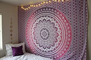 Pink Tapestry Pink Ombre Tapestry Wall hanging Flower Ombre Bedding Mandala Tapestry Dorm Room Bedding Hippie Tapestry Bohemian Wall Decor Art