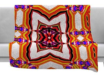 Kess InHouse Dawid ROC Vintage Flower Pattern 3 Green Abstract Throw 80 x 60 Fleece Blanket