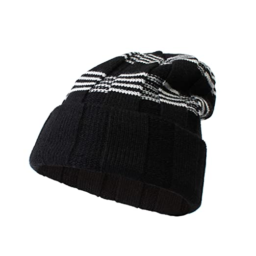 ac432570d53 Classic Boys Winter hat Cable Knit Thick Slouchy Snow ski Cap Boys Beanie  (Black)