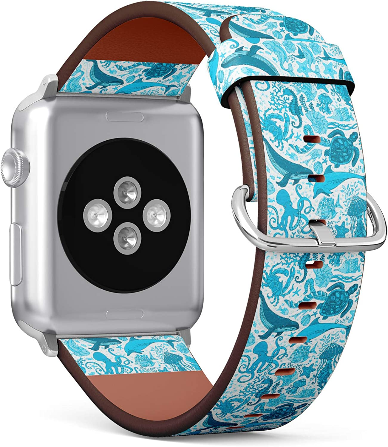 (?Ocean Underwater Whale, Dolphin, Turtle, Starfish, Crab, Octopus Pattern) Patterned Leather Wristband Strap for Apple Watch Series 4/3/2/1 gen,Replacement for iWatch 42mm / 44mm Bands