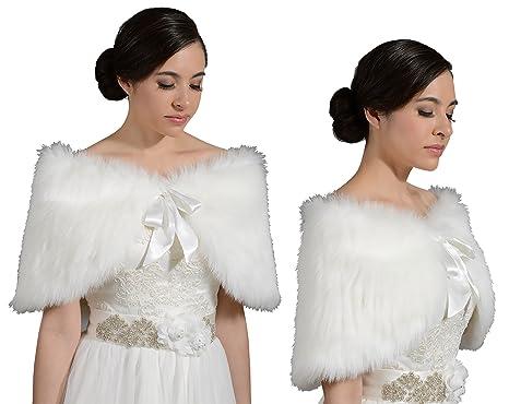 1ccfe5c5e4d Angel Star Faux Fur Ivory Wrap Bridal Bridesmaids Wedding S M L ...