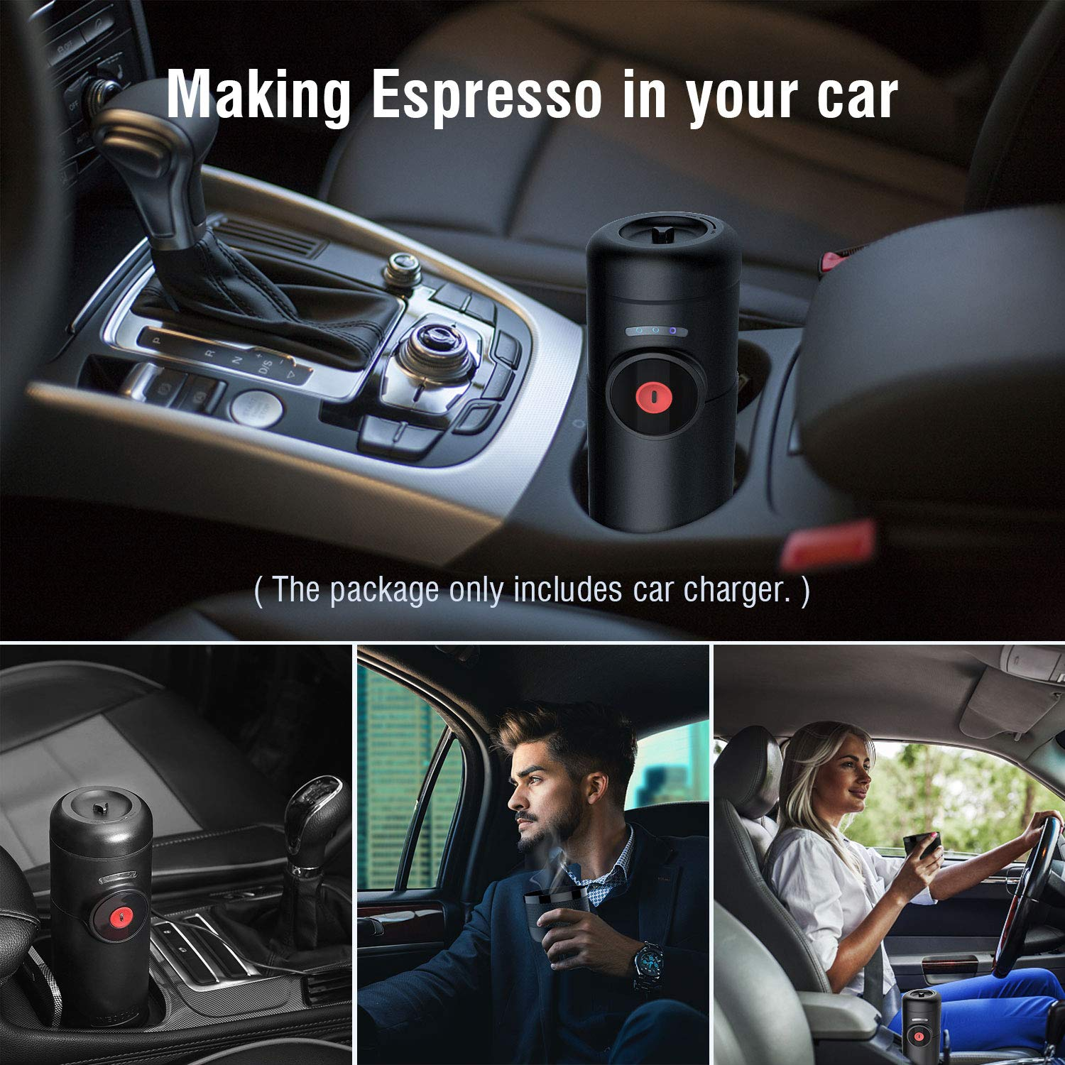 Electric Portable Espresso Machine with Rechargeable Battery, Small Automatic Quick Coffee Maker for Home Office Travel Camping Outdoor, Compatible with Nespresso Capsules and Sealpod, 50ML,Black
