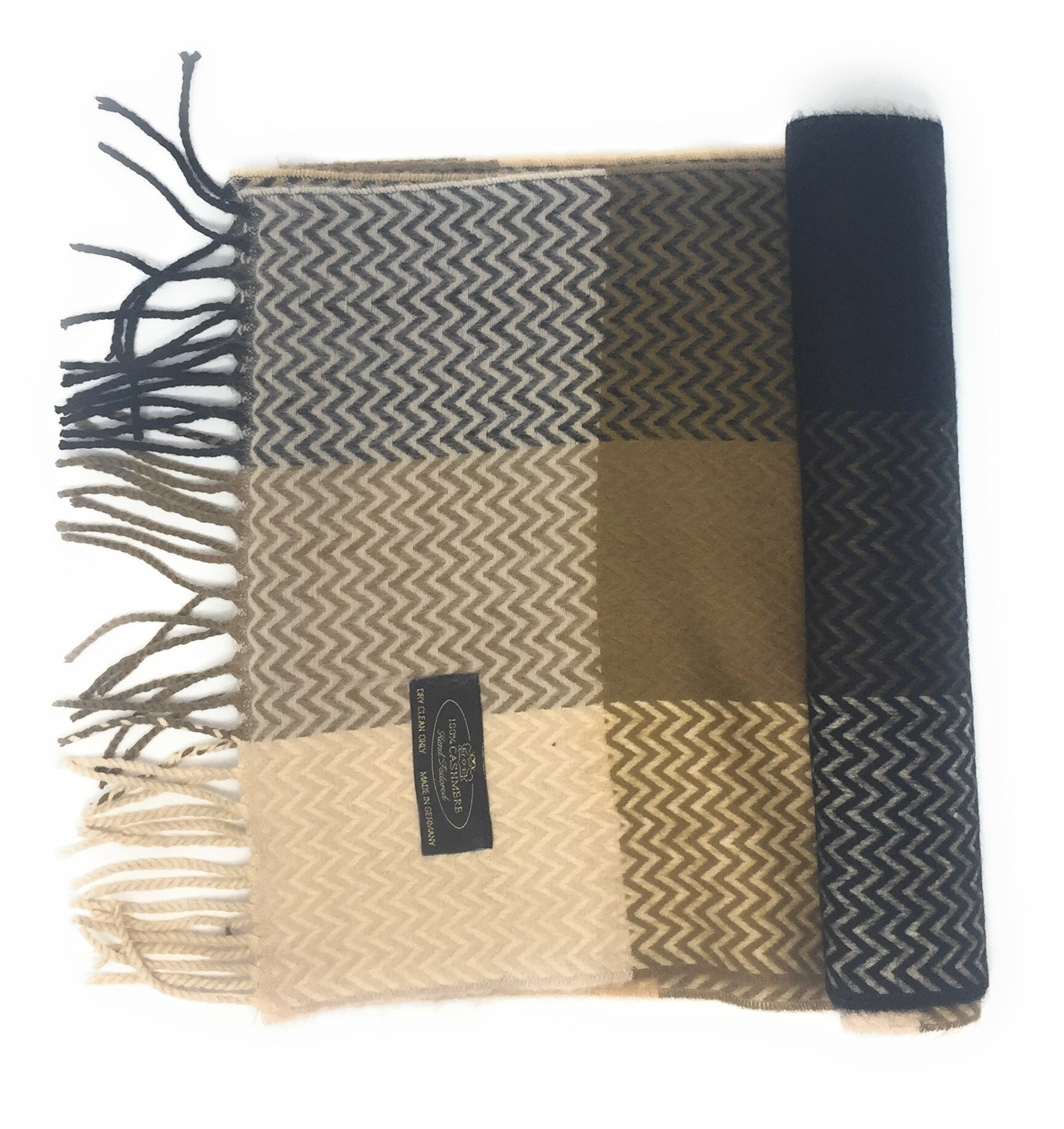 Annys 100% Cashmere Plaid Scarf 12x72 with Gift Bag - Men Cashmere - Cashmere Women (22 Colors) (Chevron - Brown/Tan/Black)
