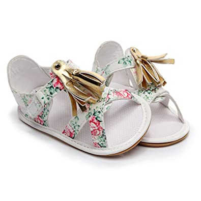 HONGTEYA Baby Girl Summer Princess Dress Sandals Tassel Infant Shoes PU Leather Rubber Soled Toddler Moccasins