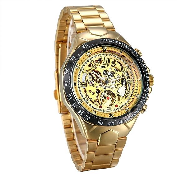 f5b7b47d181c JewelryWe Reloj Mecánico Automático para Hombre Reloj Dorado Acero  Inoxidable