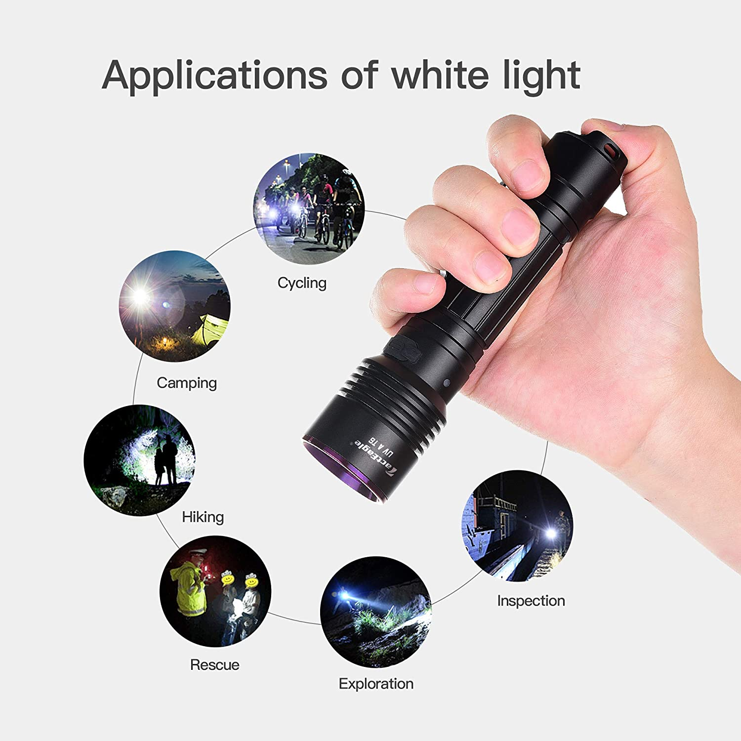 TactEagle UVA-T6 Black light /& 400 Lumens Rechargeable Flashlight 2 in 1 365NM Strong UV Flashlight for Urine Detection Minerals Resin Curing Scorpion Camping Hiking Fishing Outdoor Adventures