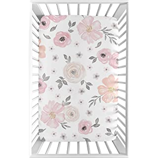 Sweet JoJo Designs Pink and Grey Baby Girl Fitted Mini Portable Crib Sheet Watercolor Floral Collection - for Mini Crib or Pack and Play ONLY