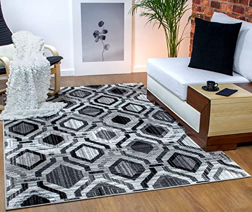 Antep Rugs Elite Collection Geometric Contemporary Distressed Indoor Area Rug Grey, 5 x 8