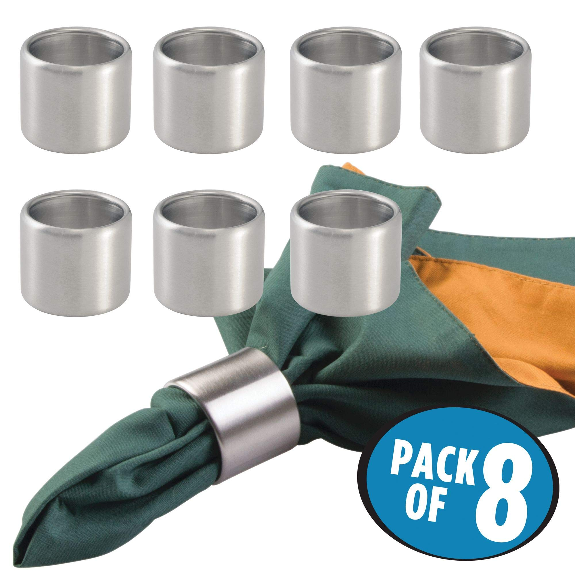 mDesign Napkin Rings for Home, Kitchen, Dining Room - Pack of 8, Brushed Stainless Steel by mDesign (Image #2)