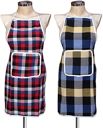 Yazlyn Collection Cotton Kitchen Multi Apron with Front Pocket -Set of 2
