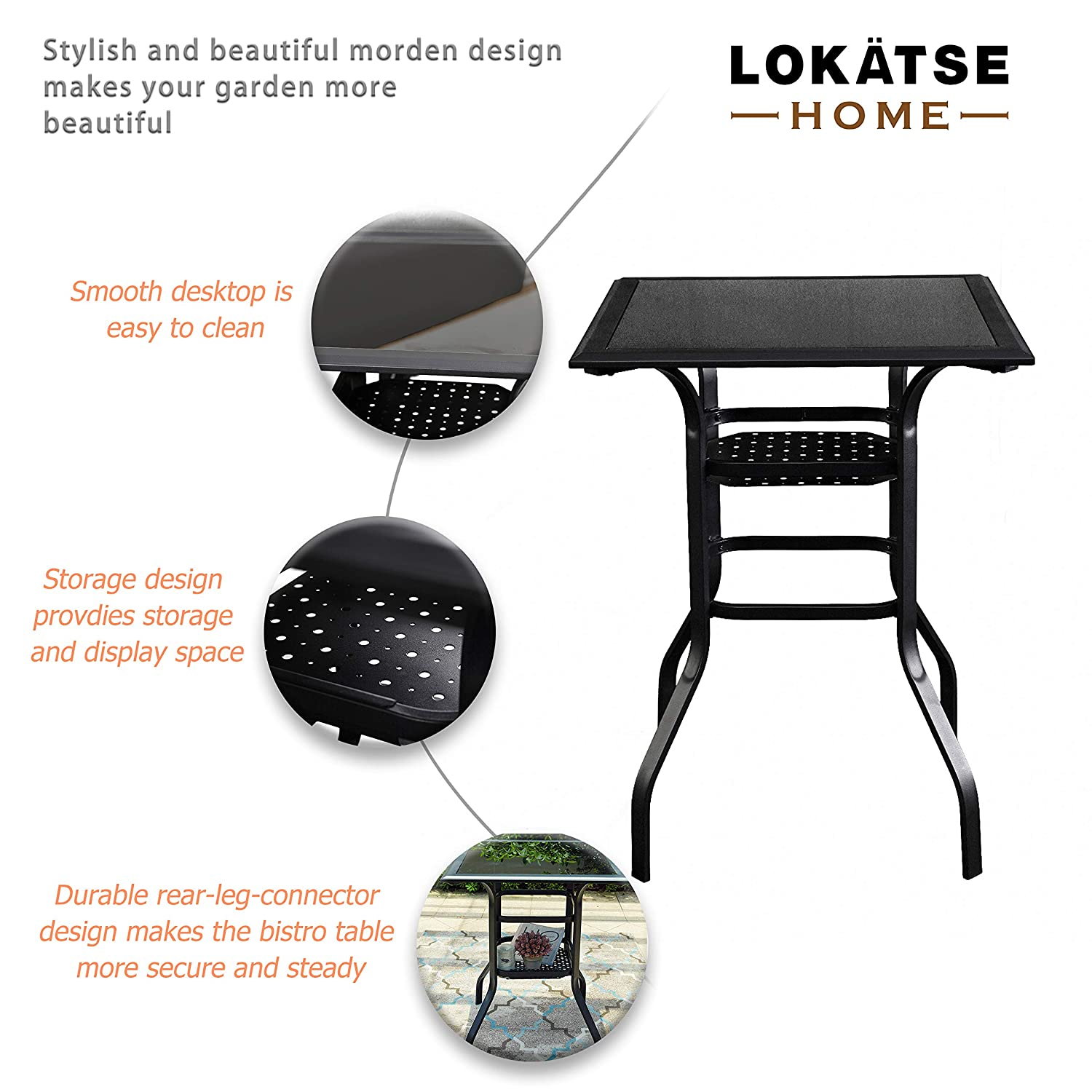 LOKATSE HOME High Outdoor Patio Bar Height Glass Top Table, Black
