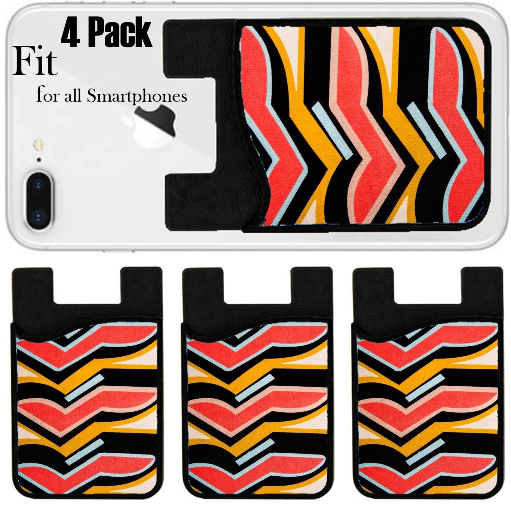 Liili Phone Card holder sleeve/wallet for iPhone Samsung Android and all smartphones with removable microfiber screen cleaner Silicone card Caddy(4 Pack) ID: 25677602 Multicolored seamless canvas wit