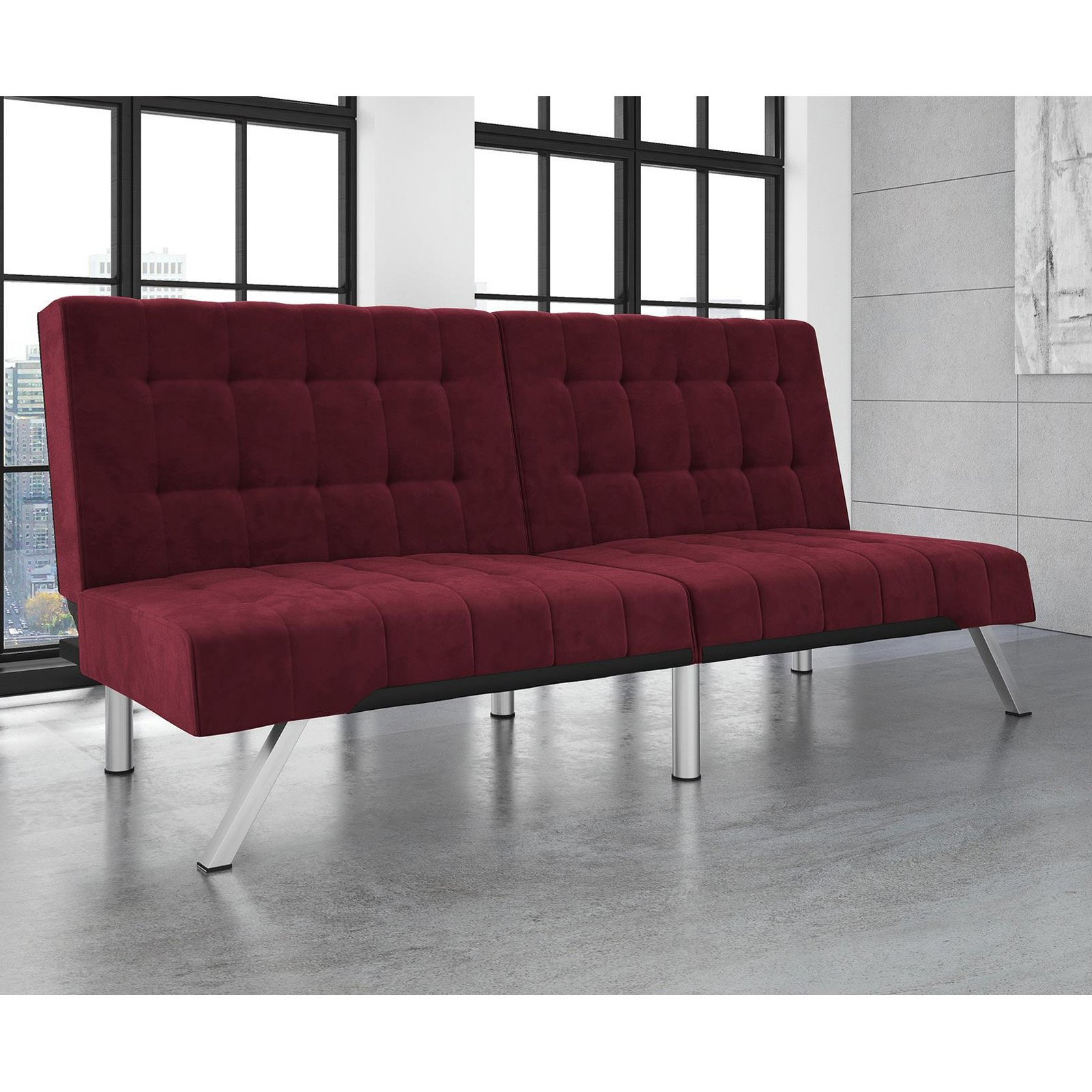 Excellent Convertible Futon, Modern Look and Design, Click-Clack Technology, Converts Easily and Quickly from Sofa to Bed, Chrome Metal Legs, Sturdy Materials + Expert Guide (Burgundy Velvet)