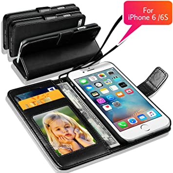 official photos 1f332 c6b50 N+ India Apple Iphone 6 6S Rich Leather Stand Wallet Flip Book Pouch Soft  Phone Bag Antique Leather Case Black