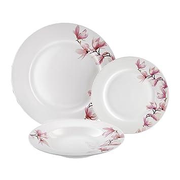 Dajar Magnolia - Vajilla de 18 Piezas. Ambition, Porcelana, Color Blanco Color Rosa, 48 x 30 x 31 cm, - Unidades: Amazon.es: Hogar