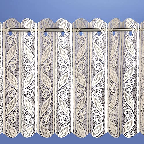 Filigree Lace Net Voile Louvre Vertical Pleated Window Blind Panel Curtain 72 wide x 90 drop 180x229cm Cream